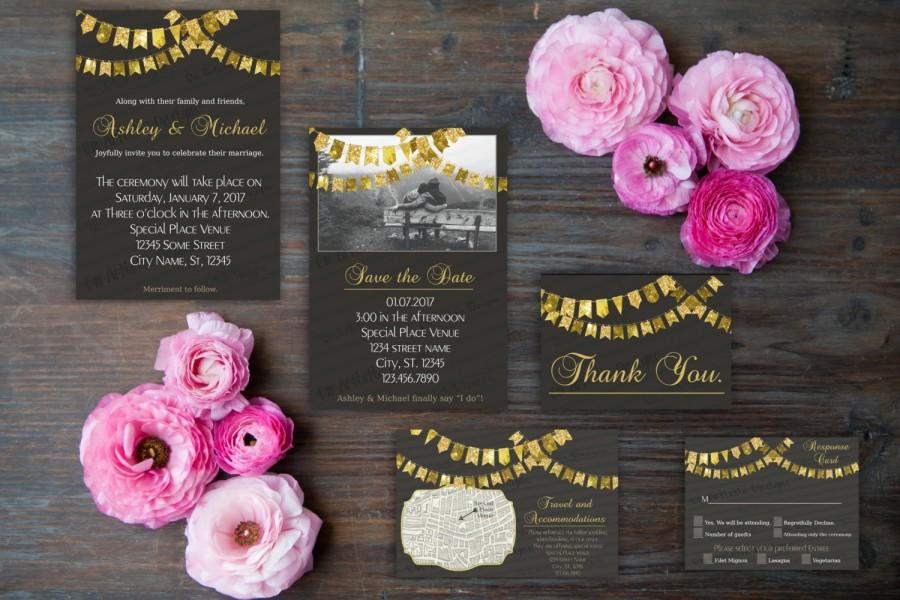 Mariage - Style GL002 Gold bunting flag with black background invitation Set of 15} Save the date card, Invitation, Info card, Rsvp, Flat Thank you