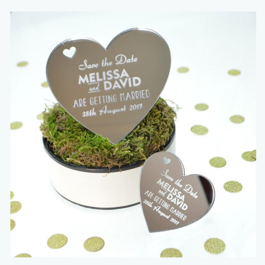 Wedding - Save The Date Magnet- Silver Mirror Heart - Personalised Wedding Fridge Magnet Invitations - Available in different Acrylic colour &Sizes