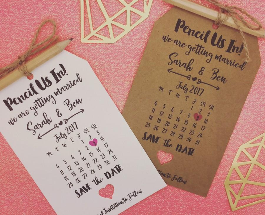 """Wedding - Personalised """"Pencil us in"""" Save The Date / Evening Card / Tags Wedding Invitation with Pencil & Envelope"""
