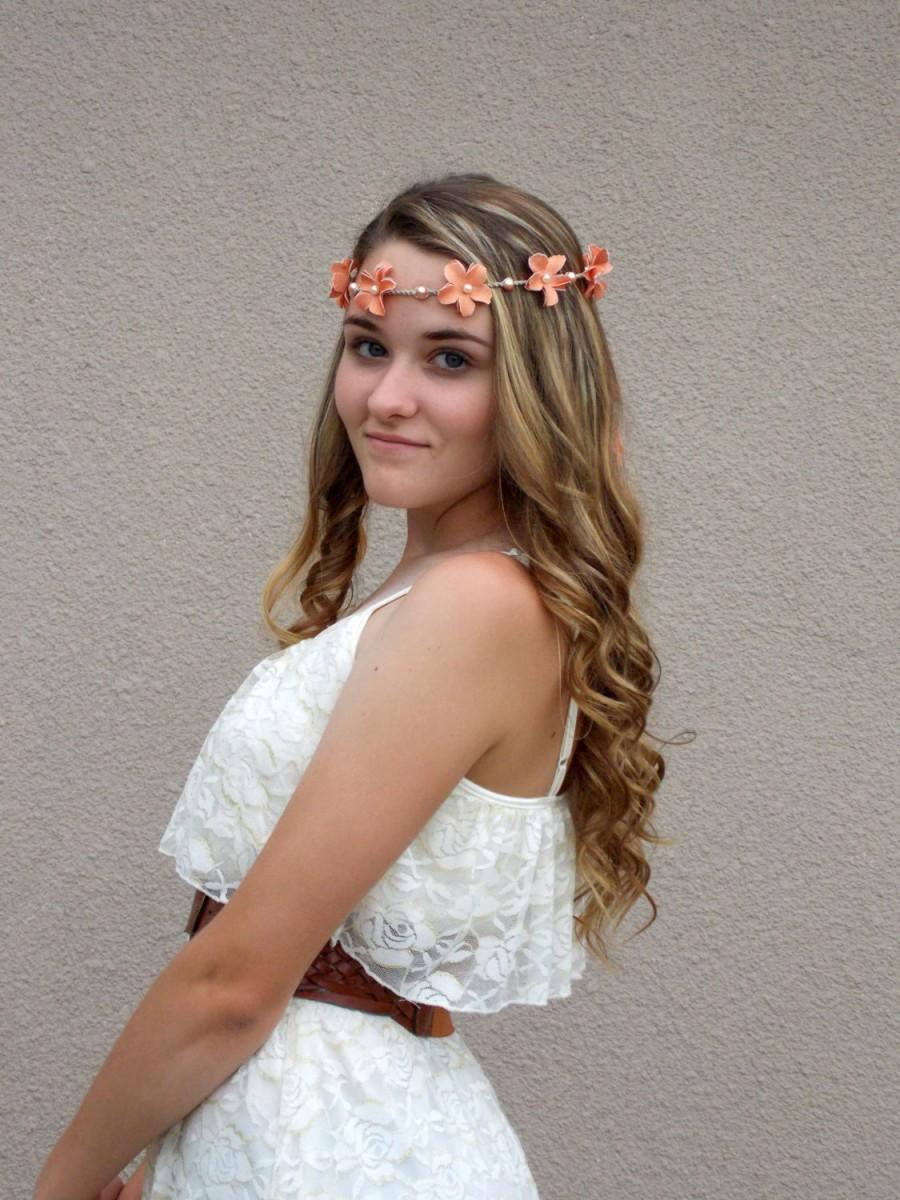 Peach Flower Lei Headband Hair Garland Floral Crown Flower Tiara