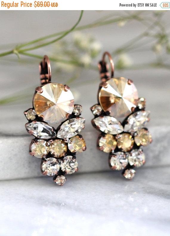 زفاف - Champagne Earrings, Bridal Champagne Earrings, Swarovski Cluster Bridal Earrings,Champagne Drop Earrings, Gift For Her,Bridesmaids Earrings