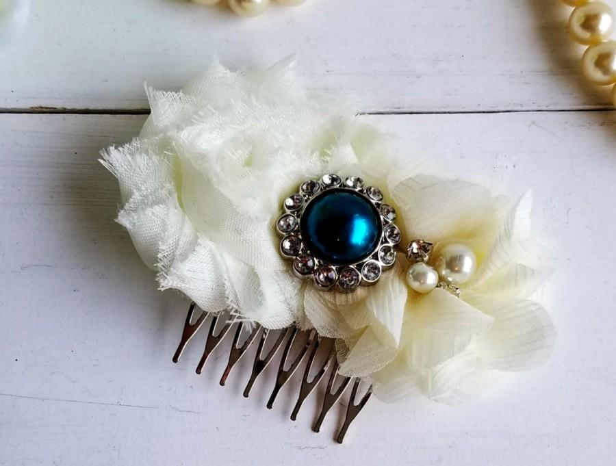 Wedding - Dark Teal Bridal Hair Clip, Wedding Hair Comb, CUSTOMIZE IT, Bridesmaid Hair Clip, Vintage Wedding, Ivory Hair Comb