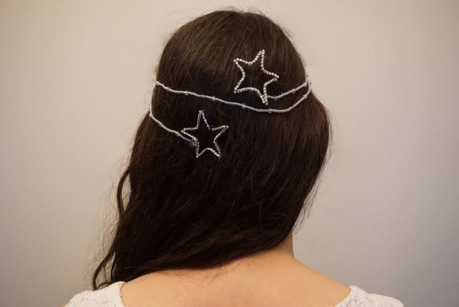 Свадьба - Bridal star wrap around hair piece, Bridal star wrap beaded hair piece, Wedding star hair pins, bridal star hair accessory,bridal hair piece
