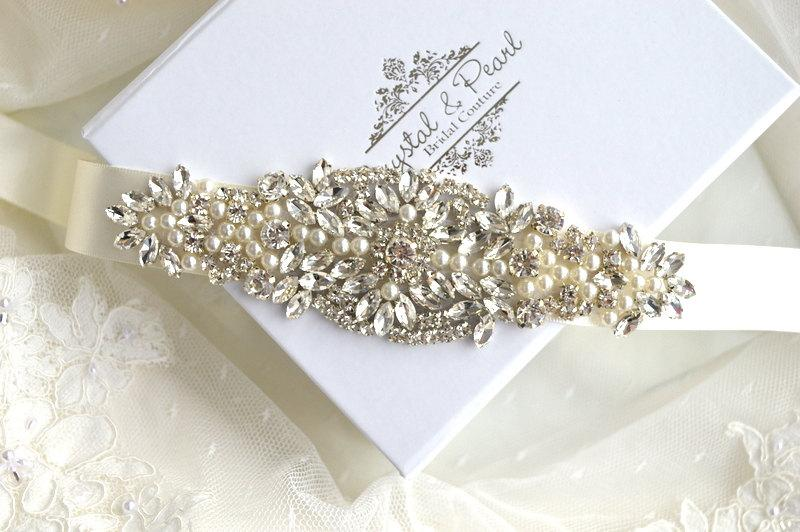 Mariage - Miami Bridal Sash - Bridal Belt, Wedding Sash, Wedding Dress Belt, Beaded Sash, Jewelled Sash, Vintage Wedding Dress Belt