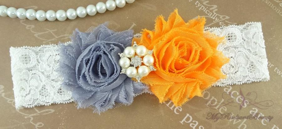 Hochzeit - Bridal Garter, Wedding Garter, Shabby Chiffon Rosette Gray Orange Garter, Garters, Garter belt, Lace Garter GTF0028O