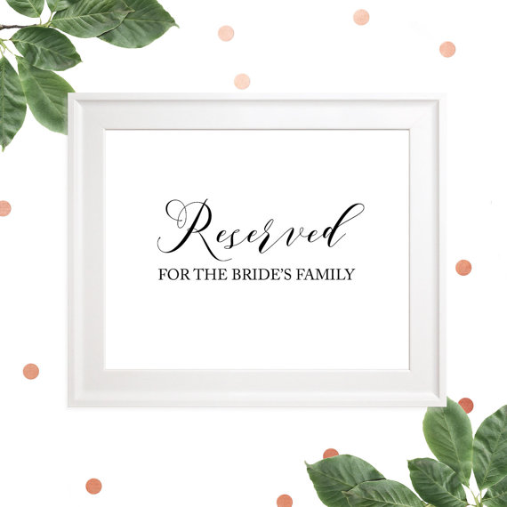 Свадьба - Reserved for Family Set of 2 Signs -Reserved for the Bride's Family -Reserved for the Groom's Family-Custom Wedding Ceremony Signage