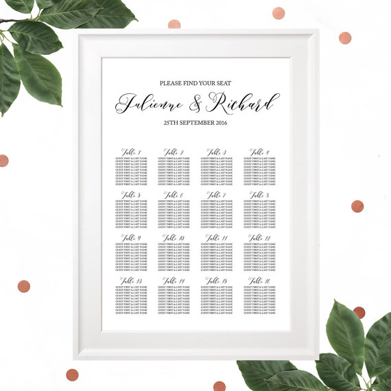 printable wedding seating chart rehearsal dinner seating chart calligraphy seating chart poster navy blue seating chart rustic wedding
