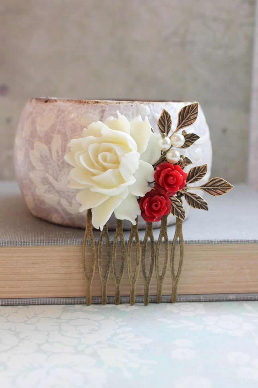 Mariage - Red Rose Hair Comb Cream Rose Comb Bridal Hair Piece Branch Hair Comb Red Flowers for Hair Vintage Style Rustic Red Wedding Valentines Day
