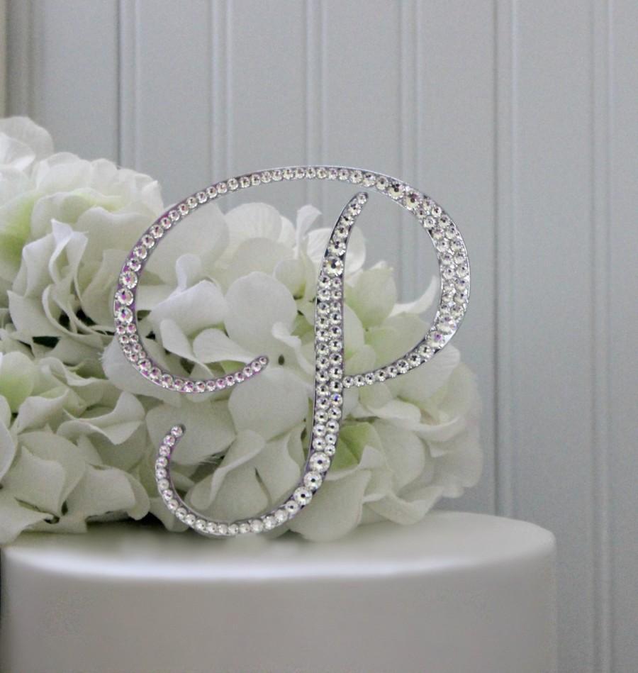 5 Wedding Cake Topper Monogram Initial Swarovski Letters A B C D E F G H I J K L M N O P Q R S T U V W X Y Z