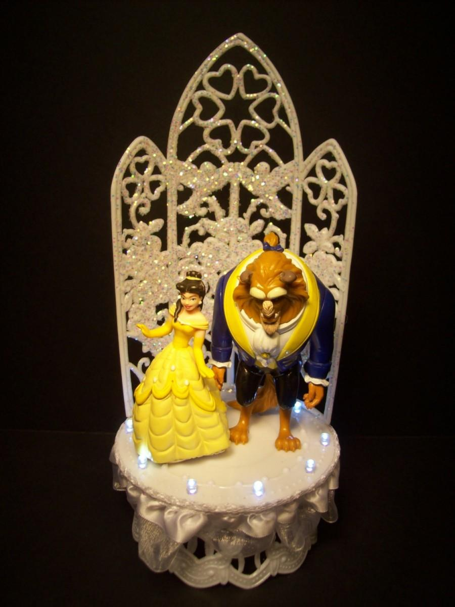 Disney Beauty And The Beast Bride And Groom Fairy Tail WEDDING CAKE ...