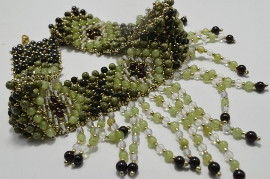 زفاف - Green and Vinous Statement Gemstone Choker; Holiday Onyx, Garnet, Serpentine Necklace; Ethnic Style Beaded Necklace; Christmas Gift for Her