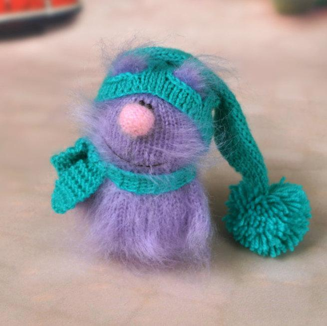 Wedding - SALE Purple Cat in Blue Hat - Hand-Knitted cat Toy Amigurumi cat Miniature cat Doll wool toy cat Handmade crochet cats plush toys amigurumi