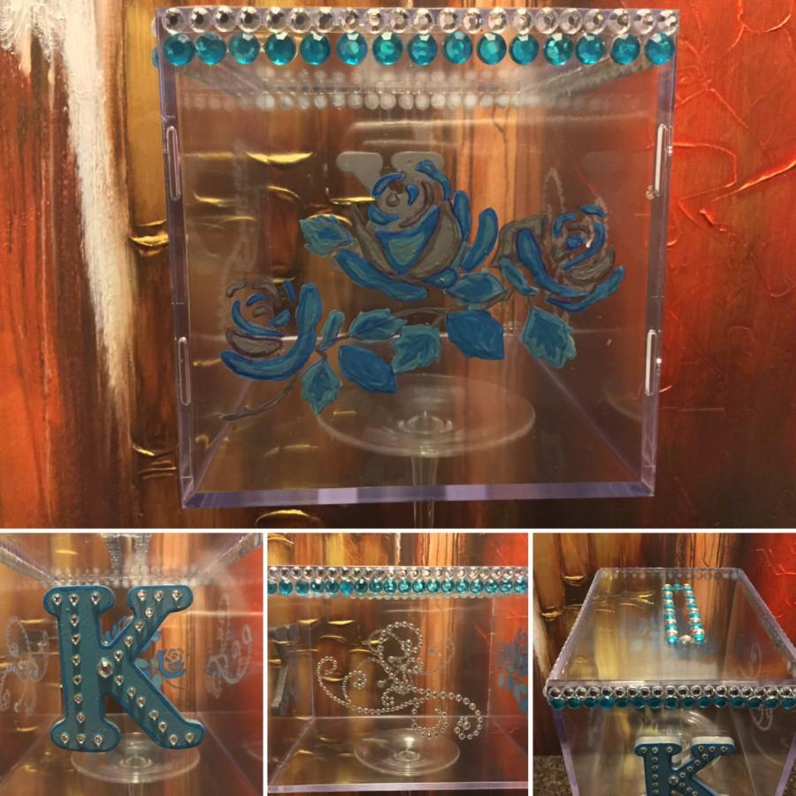 Hochzeit - Hand Painted  Clear Card Box