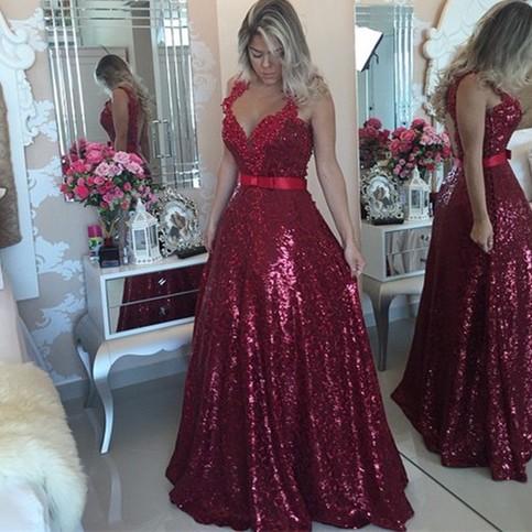 Hochzeit - High Quality Prom Dress - Dark Red Princess Straps Backless with Sash from Dressywomen