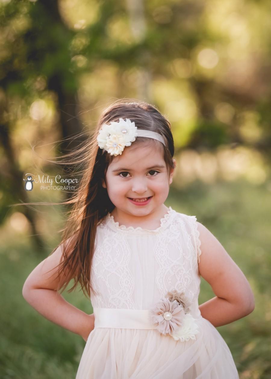 Свадьба - Caroline Champagne Flower Girls Dress, Toddler Dress, baby girl dress, Girls Dress, Baptism Dress Christening Dress With Satin Ribbon Sash
