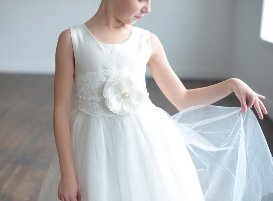 Свадьба - Flower girl dress, first comunion dress, silk communion dress, flowergirl dress, ballerina dress, tulle flower girl dress