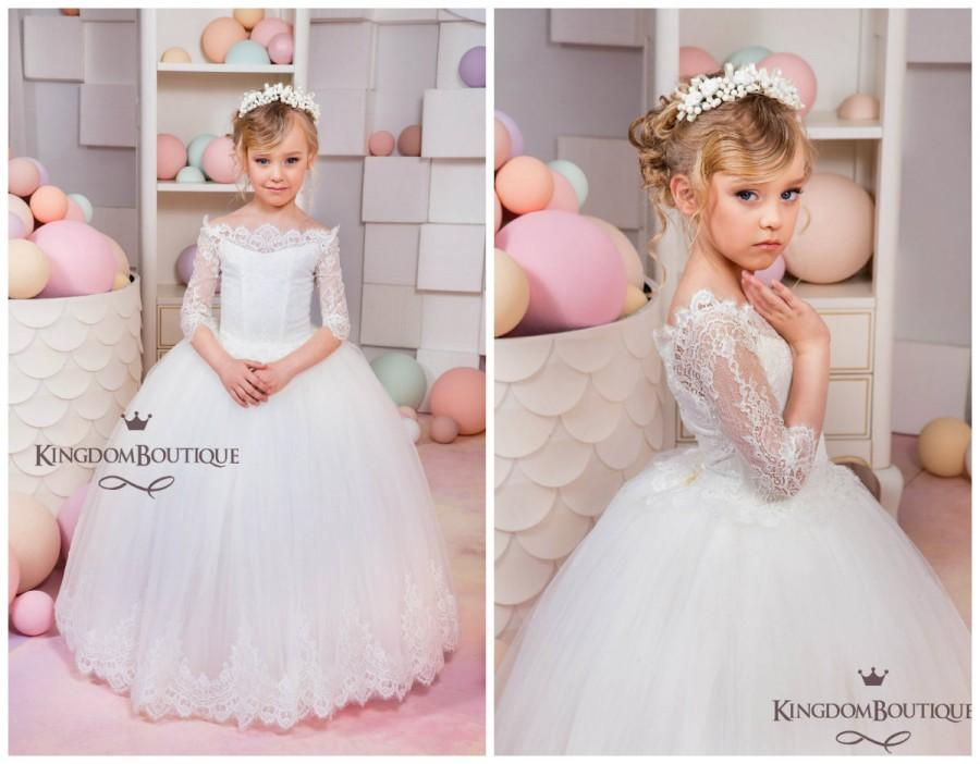 Свадьба - Ivory Flower Girl Dress - Wedding Holiday Party Bridesmaid Birthday Flower Girl  Ivory Tulle Lace Dress