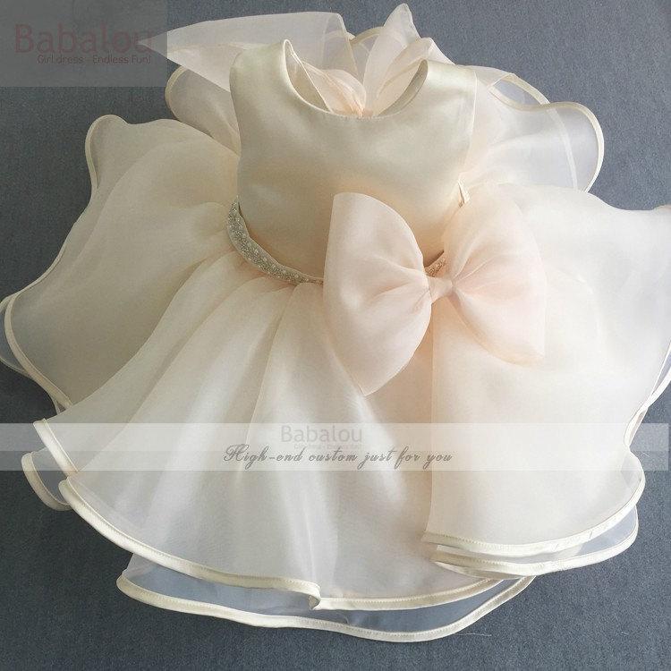 Mariage - High quality champagne ivory girl dress princess dress flower girl dresses tutu dress wedding birthday winter chrismast dress