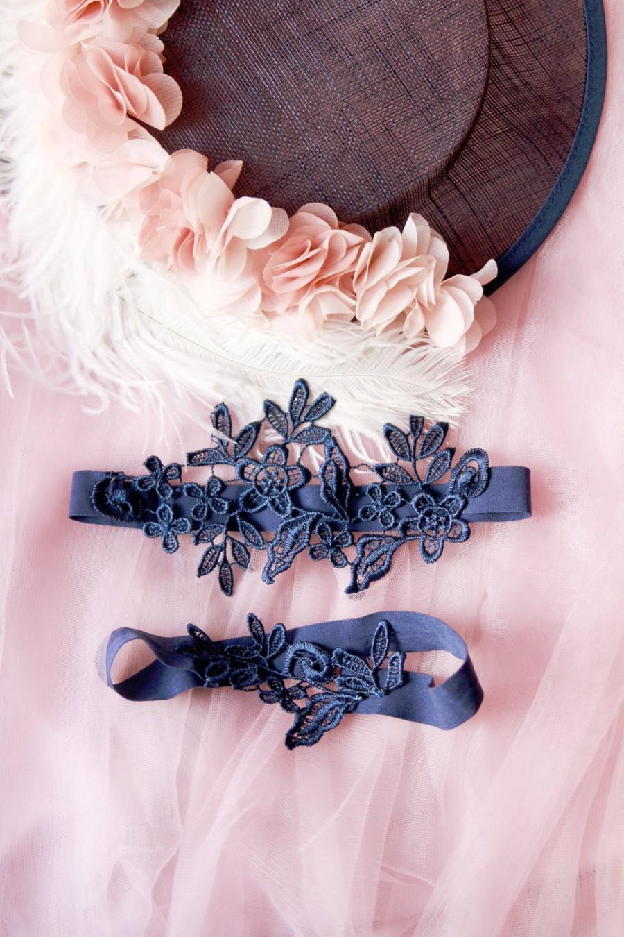 Mariage - Wedding Garter Set Bridal Garter Set - Navy Blue Lace Garters - Keepsake Garter Toss Garter Prom Garter Something Blue Garters