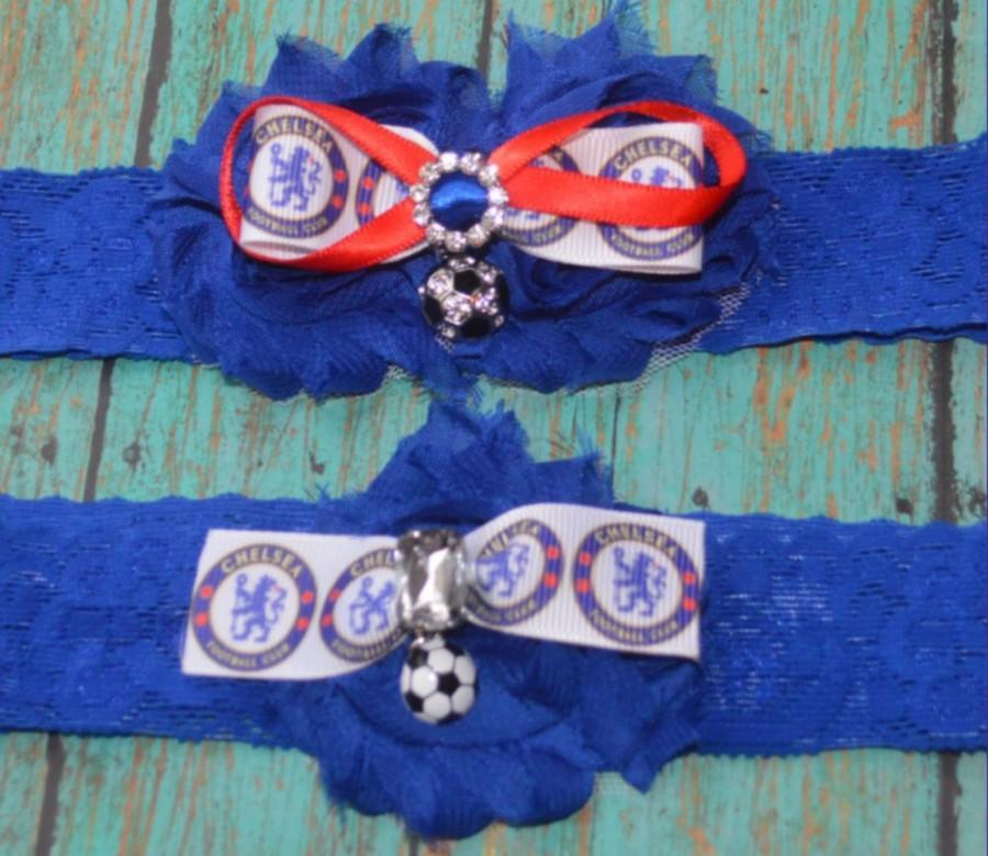 زفاف - Chelsea Inspired Soccer Wedding Garter,Bridal Garter,ChelseaGarter,Bridal Garter,Soccer Ball Garter,Something Blue,Chelsea Football Garter