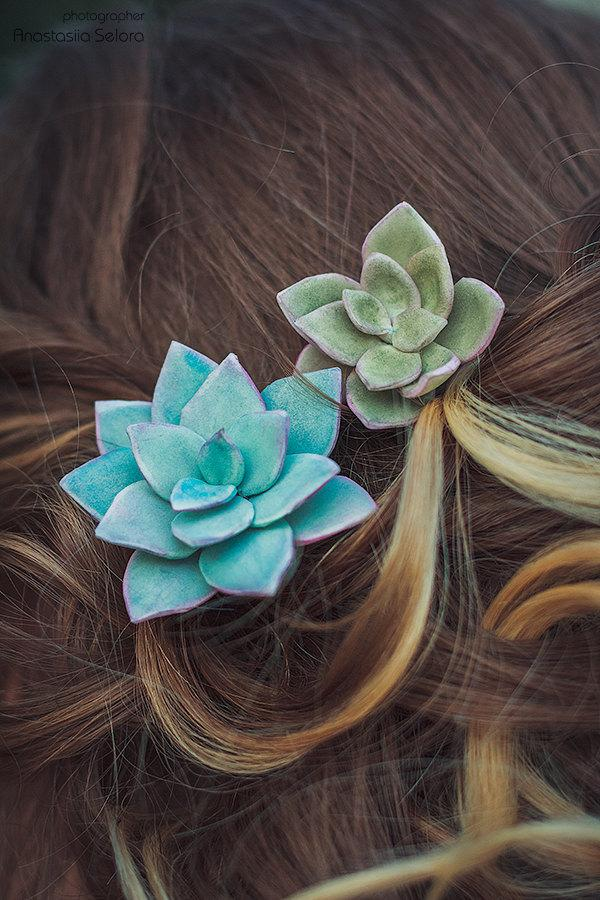 Wedding - Set of 2 Succulent Hair pins Rustic Wedding Hair Accessories Bridal Hairpin Boho Wedding Succulent Hairpins Bridal plant bobby pins green