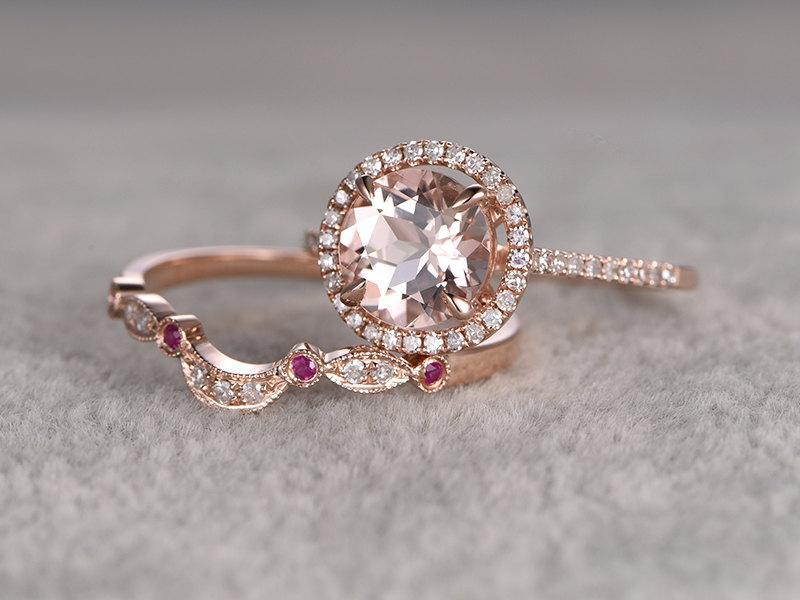 Hochzeit - 2 Morganite Bridal Ring Set,Engagement ring Rose gold,Diamond wedding band,8mm Round Gemstone Promise Ring,Halo,Ruby Milgrain Matching band