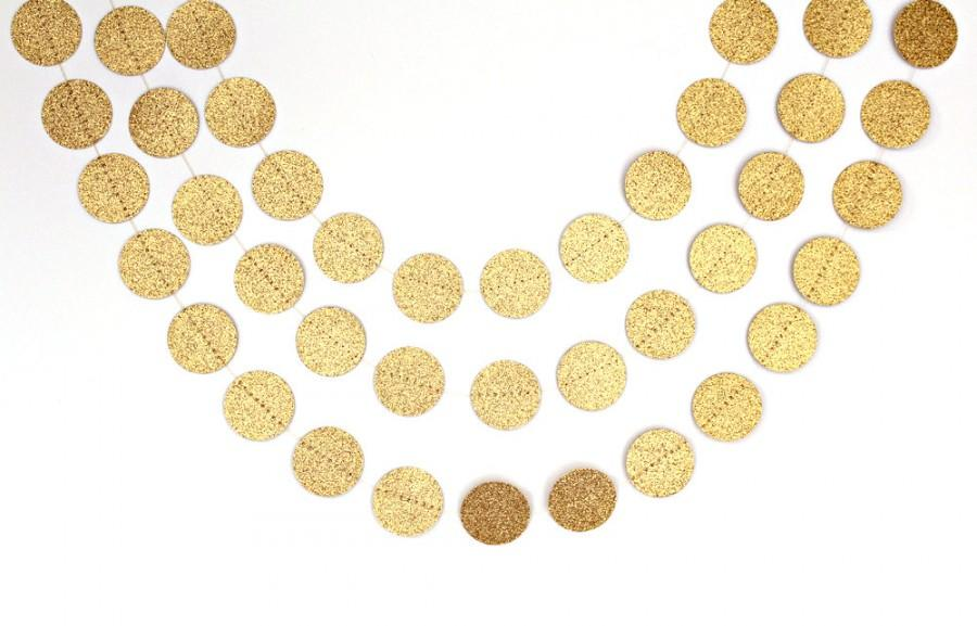 Свадьба - Gold Glitter Engagement Party Decorations, Gold Circle Paper Garland, Gold Engagement Photos Backdrop Banner, Gold Engagement Party Garland