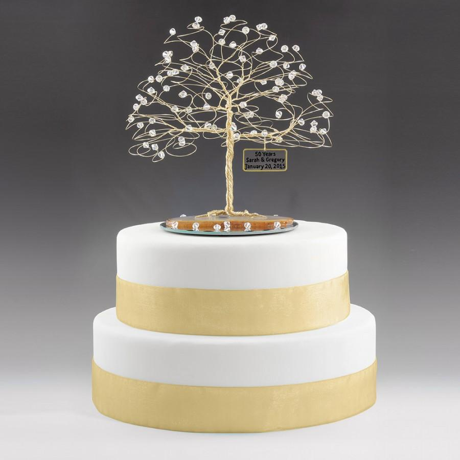 Personalized 50th Anniversary Cake Topper Tree Gift Idea Clear Swarovski Crystal Elements On Gold 7 X