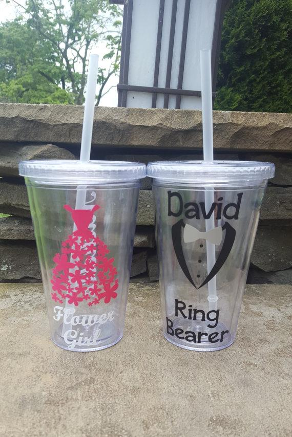 Свадьба - Ring Bearer And Flower Girl Tumbler Set, Ring Bearer Gift, Flower Girl Tumbler, Ring Bearer Cup, Flower Girl Cup, Flower Girl Gift