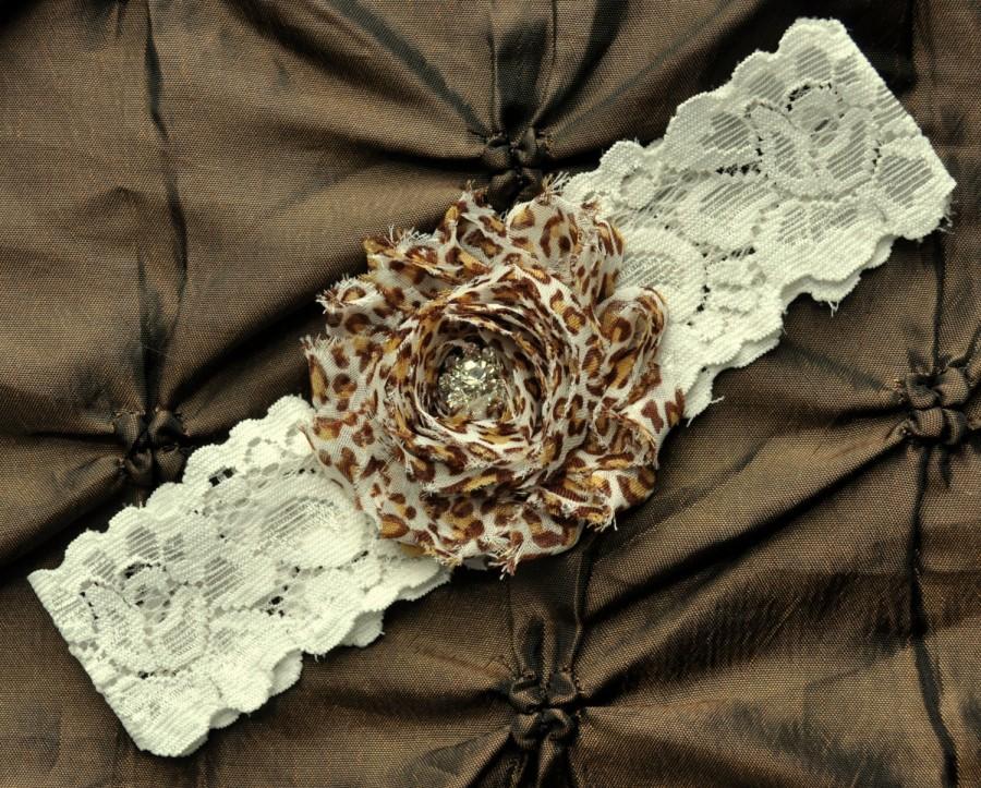 Wedding - Leopard Wedding Garter, Bridal Garter - Ivory Lace Garter, Toss Garter, Shabby Chiffon Rosette Exotic Leopard Print, Leopard Wedding Garter