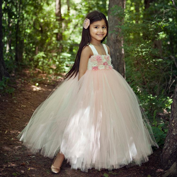 Mariage - Blush Tutu Dress, Flower girl dress, Flower Girl Dresses, Ivory, Blush, Weddings, Girls,