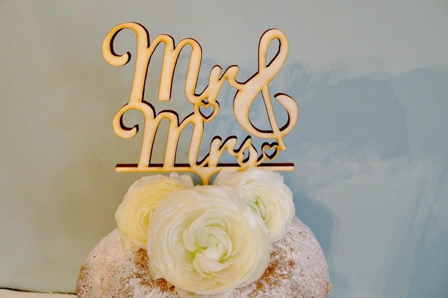 Mariage - Mr & Mrs Wedding Cake topper, Wooden cake topper, Mr and Mrs wedding, Mr Mrs Cake topper