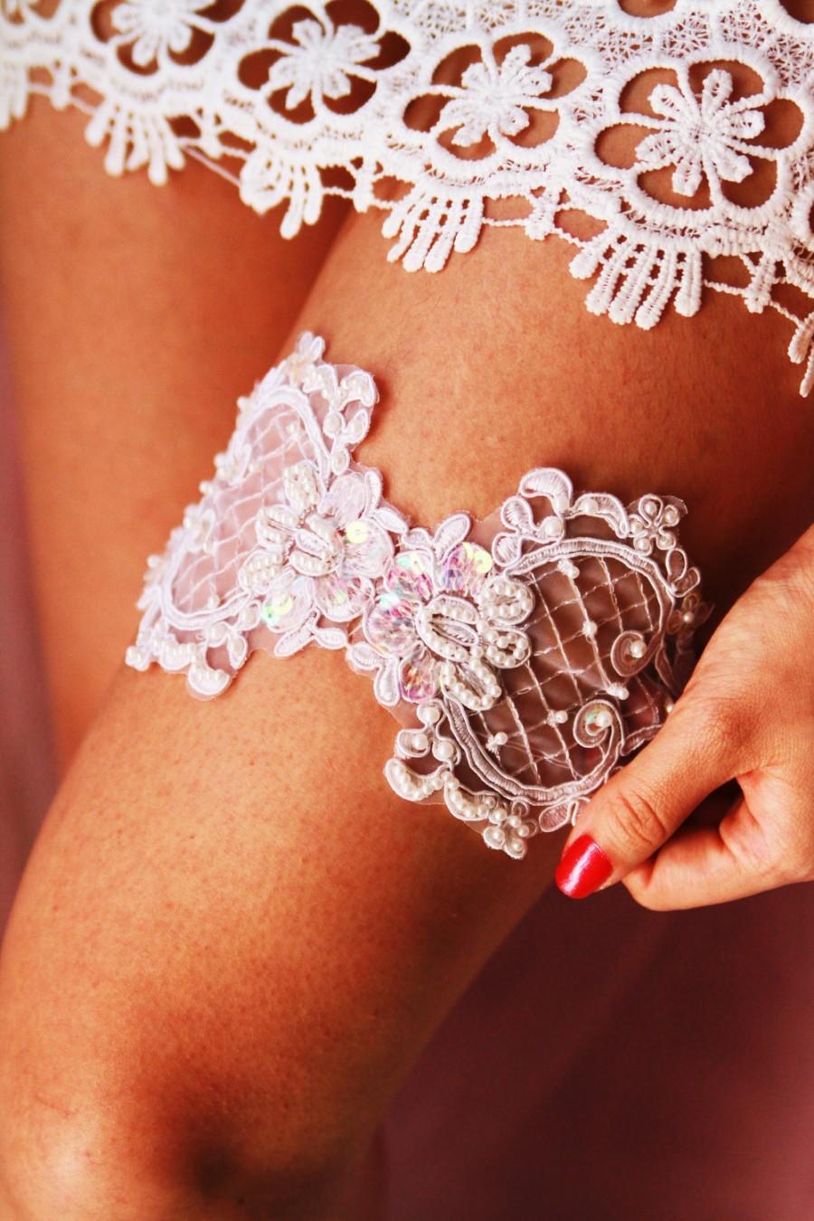 Свадьба - Bridal Garter Wedding Garter Bridal Lace Garter- Beaded Keepsake Garter - Ivory Rustic Bohemian Wedding Bridal Garter Belt