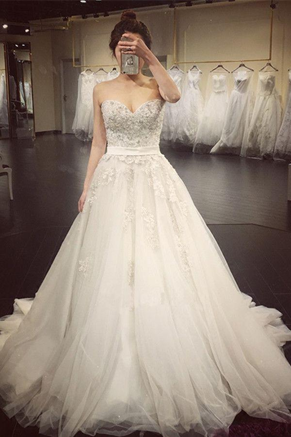 Wedding - Elegant Sweetheart Beaded Appliques A Line Court Train Wedding Dress WD019