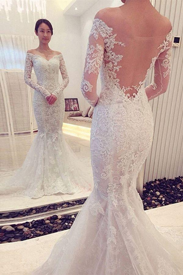 Mariage - Charming Off The Shoulder Long Sleeves Lace Mermaid Wedding Dress WD018