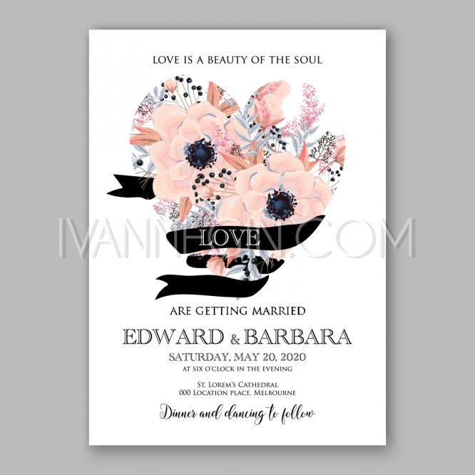 Mariage - Anemone wedding invitation card printable template - Unique vector illustrations, christmas cards, wedding invitations, images and photos by Ivan Negin