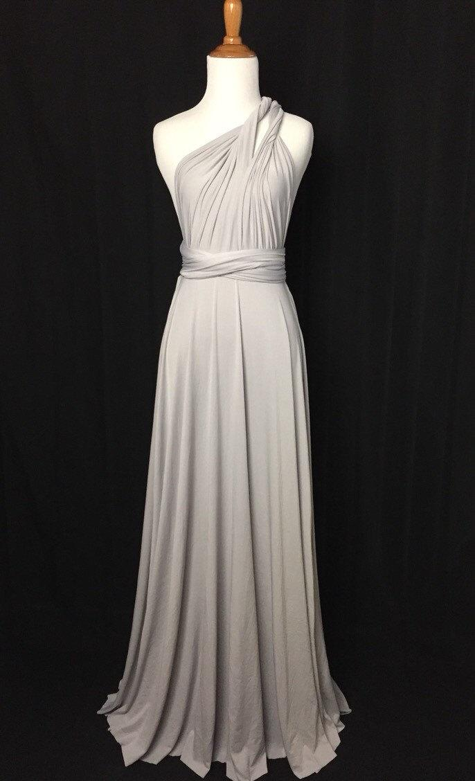 Wedding - Silver Grey dress length ball gown Infinity Dress Convertible Formal,wrap dress ,bridesmaid dress,party dress Evening dress C17#