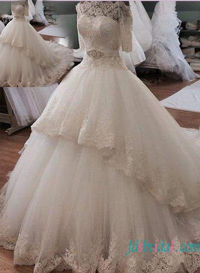 Hochzeit - Beautiful illusion lace off shoulder princess ball gown wedding dress