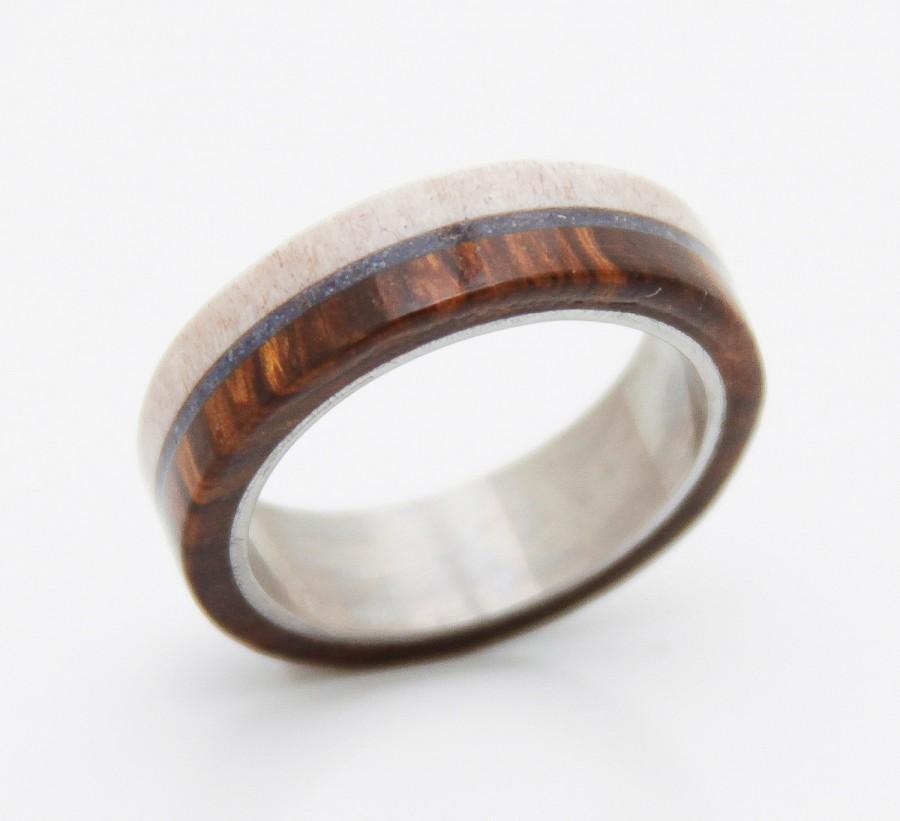 زفاف - Antler Ring Titanium Ring Antler Wedding Ring wood ring man ring titanium band and lapis ring turquoise wedding ring