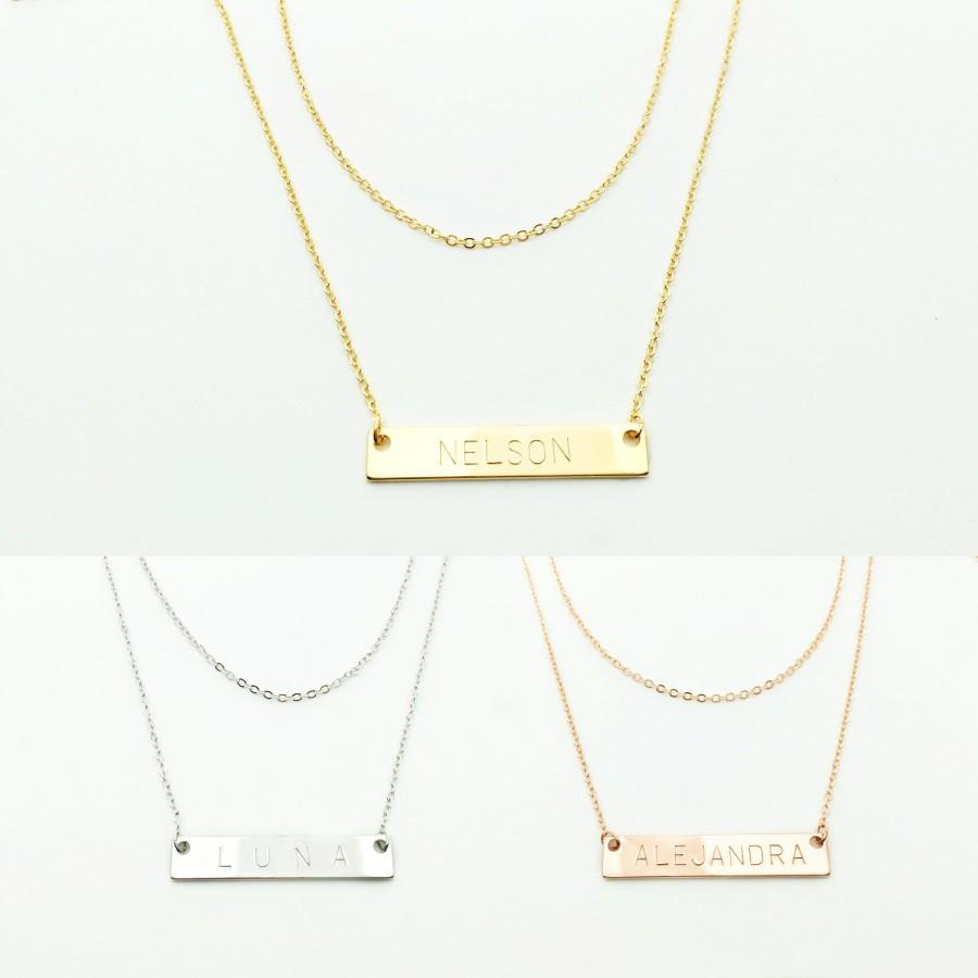 Mariage - Layered Initial Necklace set for holiday gift monogram bar necklace gift for wife ideas