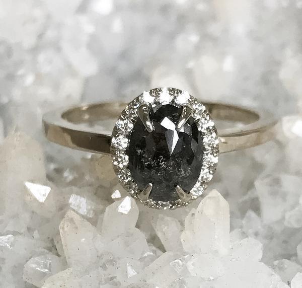 Wedding - 1.06 Carat Black Diamond Halo