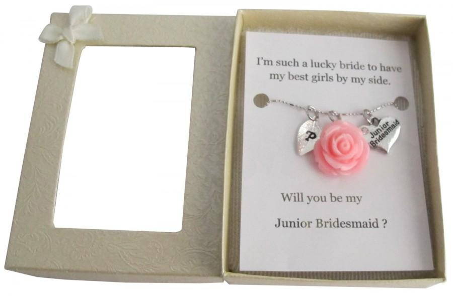 Mariage - Personalized Junior Bridesmaid Necklace, Jr Bridesmaid Gift Junior Bridesmaid Necklace Flower Girl Gift Bridesmaid Gift Free Shipping In USA