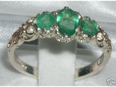 Wedding - Solid 925 Sterling Silver Genuine 3 Emerald Ring, Promise Ring, English Victorian Style Carved Ring, Trilogy Ring -  Customizable