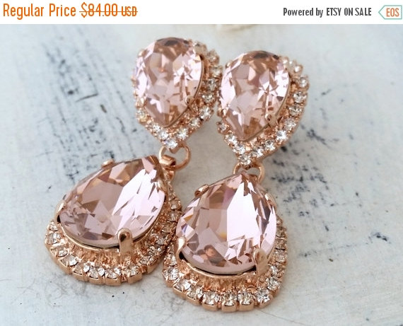 Свадьба - SALE Rose gold Blush earrings,Blush bridal earrings,blush pink chandelier earrings,Swarovski earring,Blush Bridesmaids earring,Dangle earrin