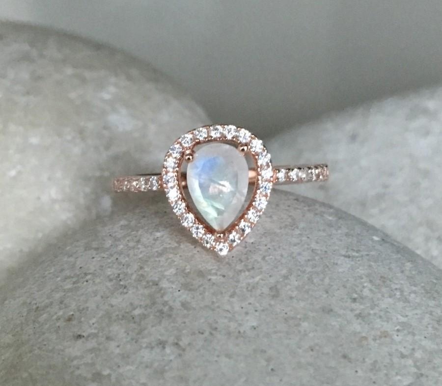 Wedding - Rainbow Moonstone Engagement Ring- Rose Gold Wedding Ring- Moonstone Promise Halo Ring- June Birthstone Ring- Solitaire Gemstone Ring