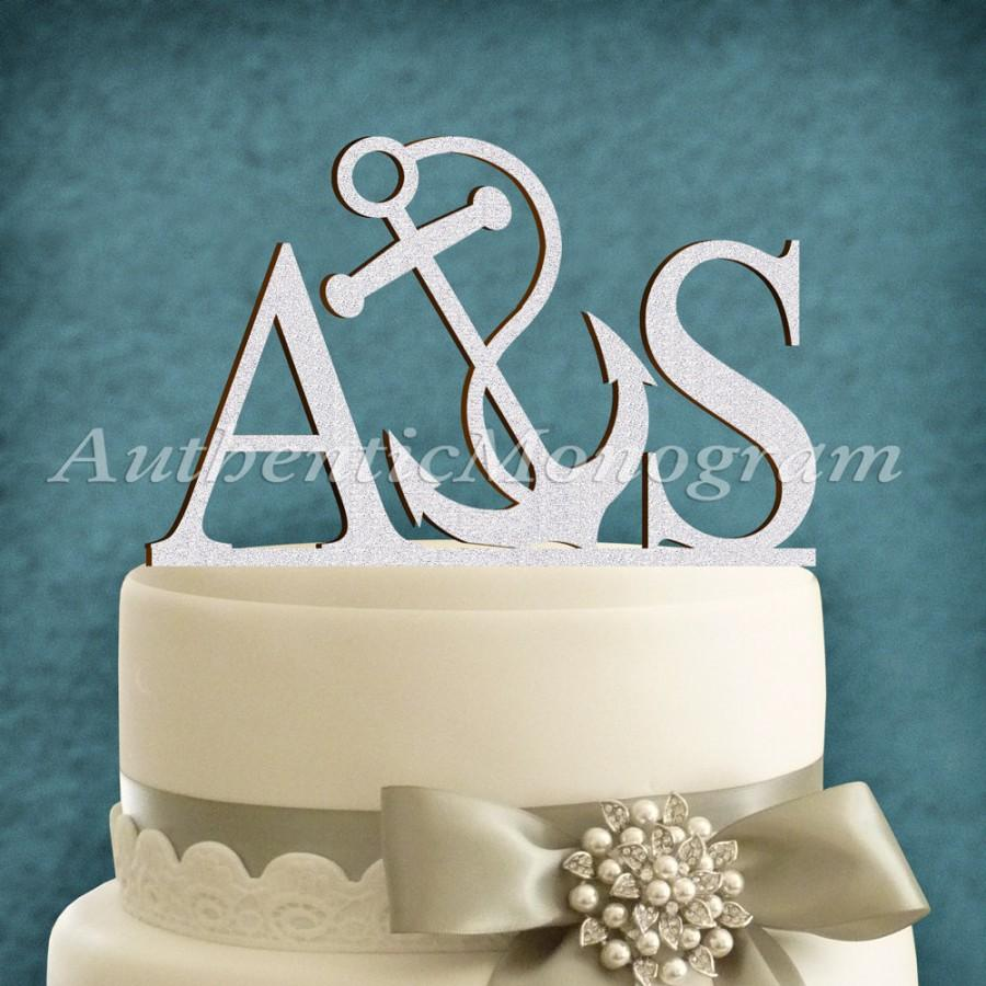 Mariage - Two Letter Anchor Cake Topper - Wooden Unpainted - Famaly Gift - Celebration Party decoration