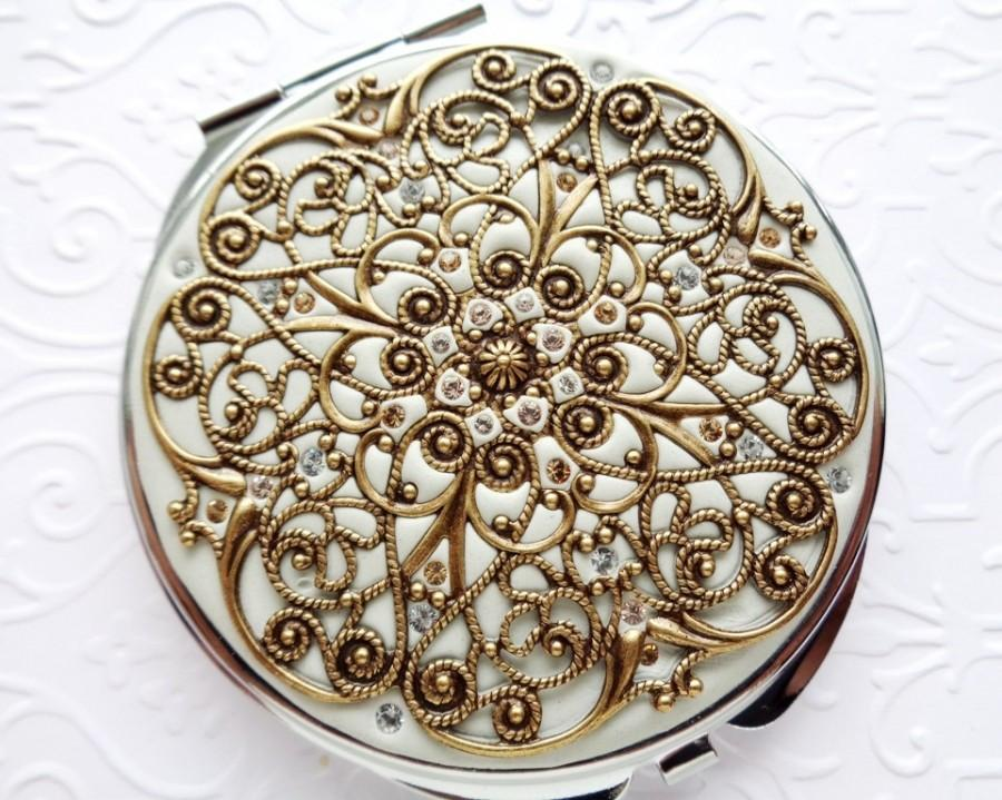 زفاف - Vintage Wedding Compact Mirror-Golden Brass Compact Mirror