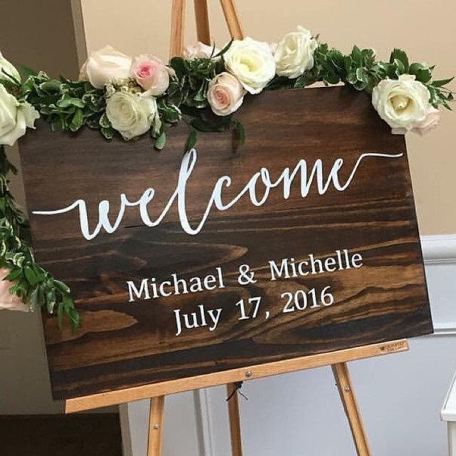 Mariage - Wedding Welcome Sign - Rustic Wood Wedding Sign