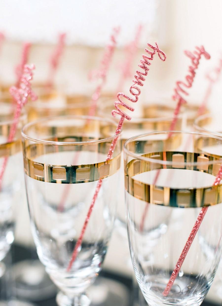 Mariage - Name Stir Sticks Personalized, Wedding Bachelorette Bridal Baby Shower Party Drink Stirrer Bar Swizzle Names Decor or Gold (Item - NPS110)