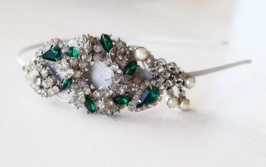 Mariage - BIG SALE Christmas Side Tiara - Christmas Wreath - Emerald Green and White - Adult Headband - Christmas Headband -Vintage Jewelry Collection